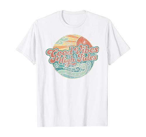 Good Vibes High Tides Retro 60s Faded Summer T-Shirt | Tshirt for Men Women, White Or Black T Shirt, Best Papa Ever Size S - 5XL