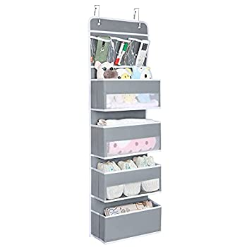 Univivi Door Hanging Organizer Nursery Closet Cabinet Baby Storage with 4 Large Pockets and 3 Small PVC Pockets for Cosmetics Toys and Sundries  Grey