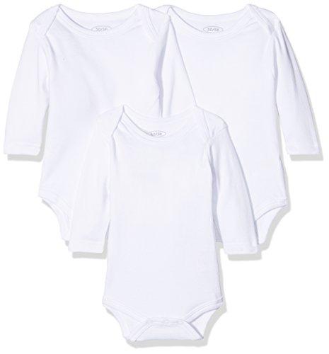 Schnizler Unisex Baby Langarm, 3er Pack, Oeko-Tex Standard 100 Body, Weiß (weiß 1), 50 (Herstellergröße: 50/56)