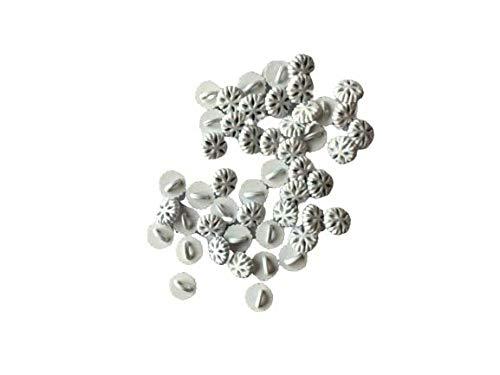 白 雪結晶ボタン 約5mm 80個 極小 小さめ ハンドメイド材料 デコ材料 ドール用 人形用 ミニチュア用