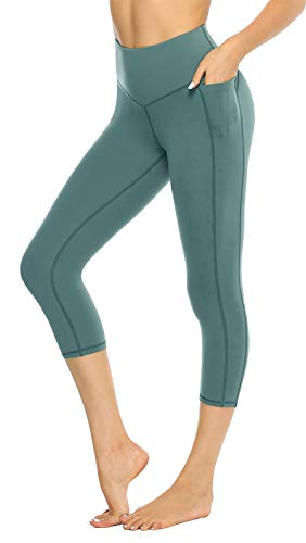 JOYSPELS Capri Workout Leggings Women High Waisted Workout Yoga Pants with Pockets Compression Slimming Tummy Control Shapewear Green XS