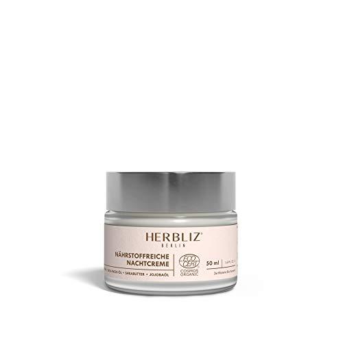 HERBLIZ Nährstoffreiche Nachtcreme - 50ml | Anti-Aging Gesichtspflege mit Hyaluronsäure, Hanf- und Jojobaöl