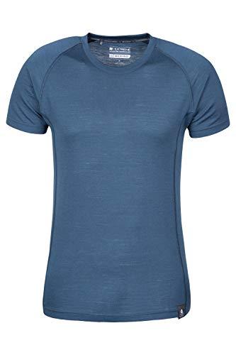 Mountain Warehouse Camiseta Merino Summit para Hombre, Invierno Azul Marino M