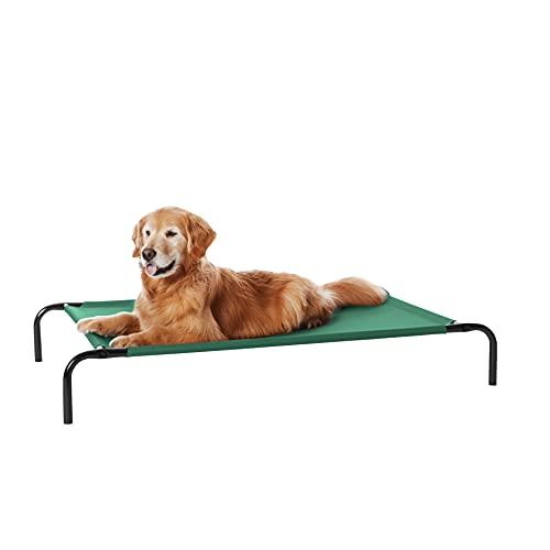 Amazon Basics - Cama elevada transpirable para mascotas, grande (130 x 80 x 19 cm), verde
