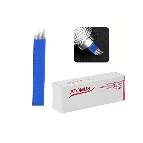 ATOMUS 50pcs Microblading Nadeln 14pin Liner Nadeln Permanent Make-Up Augenbraue (blue)