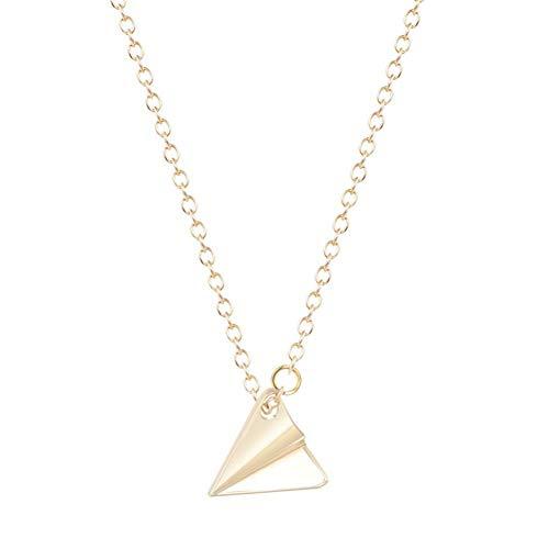 AISHIPING Chapado En Oro Origami Plane Collares Colgante para Las Mujeres Triángulo Tiny Charm Original Tiny Accesorios Simples