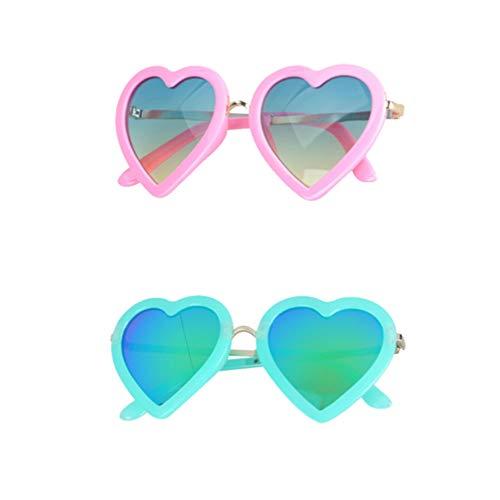 TENDYCOCO Gafas de Sol de La Novedad Sombras de Lentes de Color Gafas de Sol en Forma de Corazón Gafas de Fiesta para Niños 2Pcs / Pack