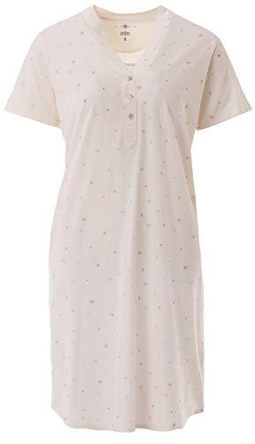 Zeitlos - Nachthemd Damen Kurzarm Stehkragen Blumendruck Knöpfe M - 6XL, Farbe:Off-White, Größe:M