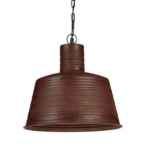 Relaxdays Luminaire lampe à suspensions abat-jour forme de cloche couleur rouille vintage style industriel retro chaîne suspension en métal noir HxD :151 x 40 cm, marron rouillé