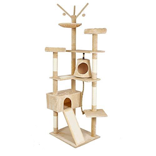 Meerveil Stabiler Kratzbaum XXL, Katzenbaum XXL mit Verbreiterter und Verdickter Bodenplatte, Hochwertiger Sisal und 2 Häuschen, Höhe: 210 cm (Beige)