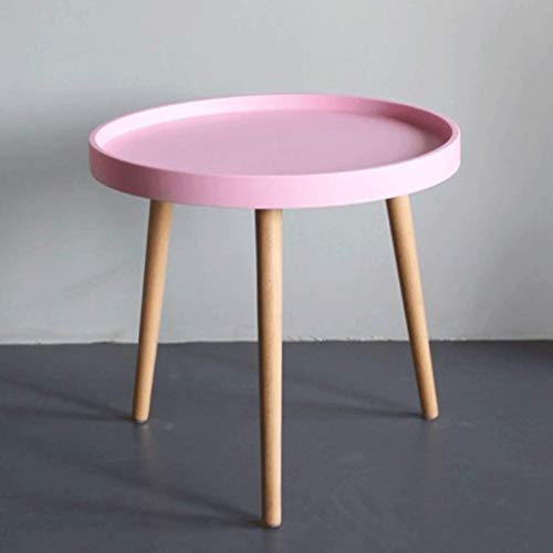 Zcx Small Round Table Bedroom Living Room Modern Small Coffee Table Sofa Side Several Wooden Legs Round Several Coffee Table Coffee Table (Color : Pink)