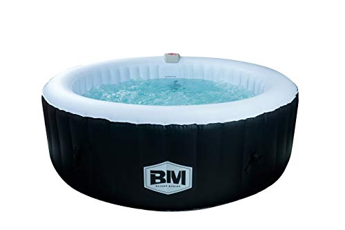 BEYOND MARINA 82'x25' Portable Inflatable Hot Tub Spa Round 6 Person Capacity with Bubble Jets and Built in Heater Pump