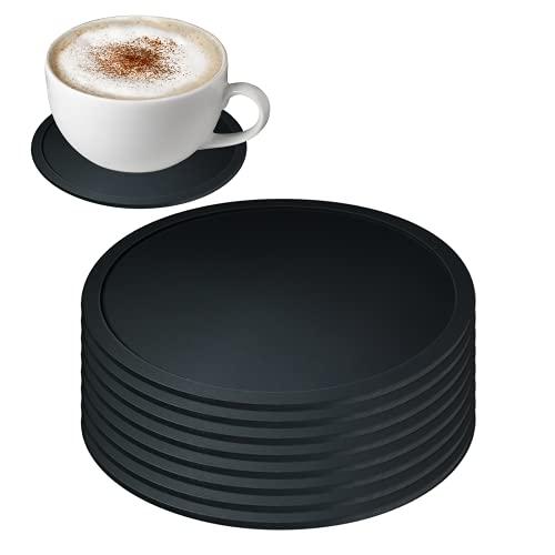 Silikon Untersetzer rund für Gläser - 8er Set Hitzebeständig und rutschfest Untersetzer - Ungiftiger schwarzer Silikon-Untersetzer in Lebensmittelqualität für Getränke, Bar, Tassen, Glas