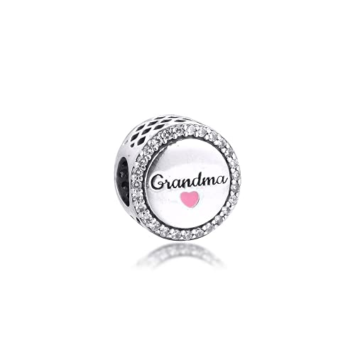 LaMenars Auntie Mom & Daughter Wife Love Charms para Pulseras Pandora 925 Silver 5A Cubic Zirconia Beads Gift for Birthday Anniversary Day (Abuela)