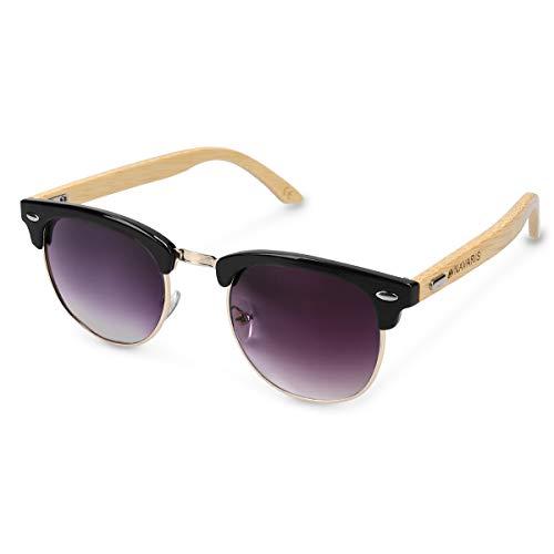 Navaris Gafas de sol de madera - Lentes con protección UV400 - Diseño retro unisex - Gafas de bambú con funda - Con marco negro y vidrios negros