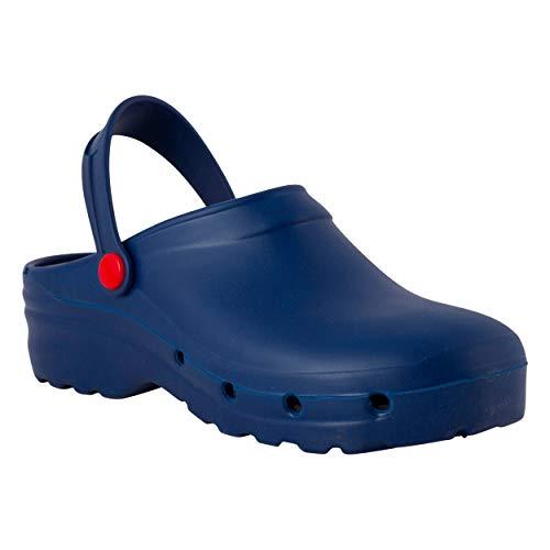 REPOSA Light Shock Zuecos Sanitarios, Zapatos de enfermería, Material eva Zapatos Sanitarios cómodos con capellada Superior Cerrada, Agujeros Laterales, Plantilla anatómica (Azul, Numeric_41)