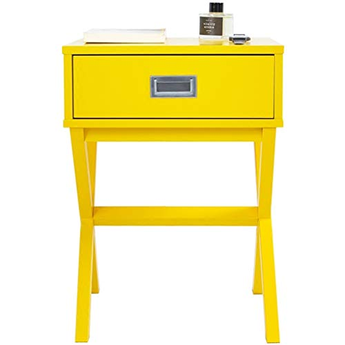 LH Nórdico Moderno Accent Soporte de la Noche de Madera Dormitorio Mesa Auxiliar con Forma de X 1 cajón Base, Mini aparador, Opcionales (Color : Amarillo)