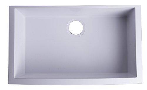 ALFI brand AB3020UM-W Undercount Single Bowl Granite Composite Kitchen Sink, 30', White