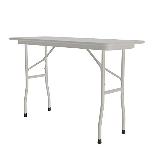 """Correll 18""""x48"""" Commercial Duty Small Folding Table, Gray Granite Melamine Top, 5/8"""" Thick Core, Made in USA, Portable, Strong Steel Apron(CF1848M-15)"""