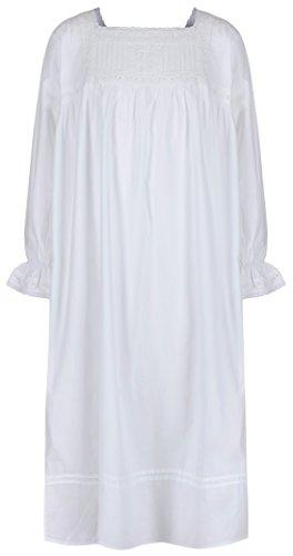 The 1 for U Mädchen Nachthemd 100% Baumwolle Vintage Viktorianisches Stil - Alter 4-14 - Einfarbig Weiß - Emma, 13-14 Years