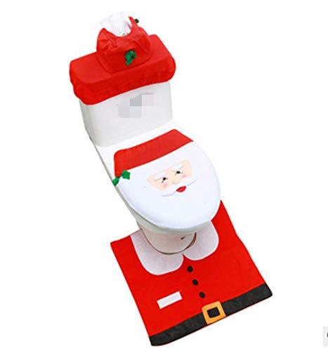 Christmas Santa Toilet Seat Cover and Rug Set,Christmas Bathroom Sets for Christmas Decorations Xmas Gift for Bathroom Happy Santa,Set of 3