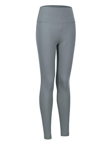CRZ YOGA Mujer Deportivos Leggings Mallas Fitness Pantalones de Cintura Alta Polainas Deportivas -63cm Carbono Oscuro 38