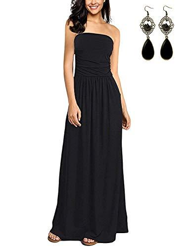 abito donna nero lungo BUOYDM Donna Vestiti Lunghi Estivi Floreale Vestito a Tubino Maxi Elegante Abito da Spiaggia Banchetto Vacanza