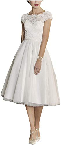 Elliebridal Vintage Short Women's Bridal Ball Gown A-line Wedding Dresses with Tulle Tea Length for Bride White Ivory