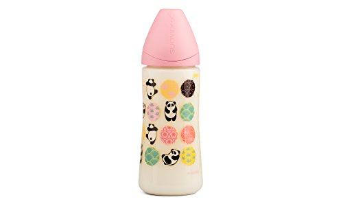 Babyfles met wijde hals met ongeveer roze. Grappige tekeningen Panda in zijn gevormde zuiger in maat 2tl is ideaal voor mus.
