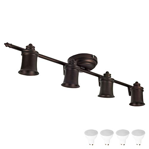 4 Light Track Lighting Wall and Ceiling Mount Fixture Kitchen and Dining Room, Oil Rubbed Bronze + Bulbs