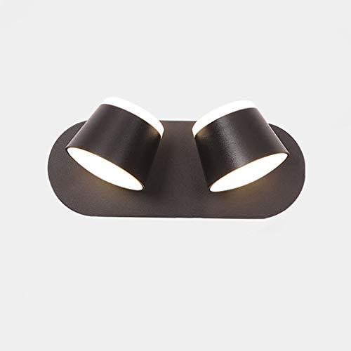 2 Llamas Luz de Pared LED Interior Lámparas de Pared Dormitorio Regulable Giratoria con Interruptor TáCtil AcríLico Metal Negro Paraguas Aplique de Lectura Luce de Noche Moderno Sala De Estar Plana