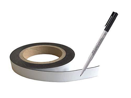 Magnetstreifen auf Rolle weiß 5 m x 19 mm beschreibbar incl. Stift Etiketten