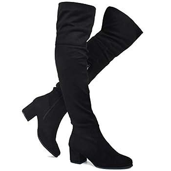 Premier Standard - Women s Over The Knee Stretch Boot - Trendy Low Block Heel Shoe - Sexy Over The Knee Pullon Boot TPS Linden-01 Black Size 8