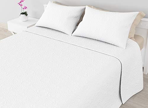 Cabetex Home - Colcha Bouti Lisa de Microfibra Transpirable con Cojines Mod. SAMIN (Blanco, Cama de 135 cm (235x255 cm))