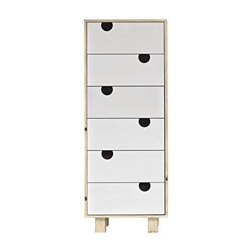 Karup Design House 6-Drawer Espace de Rangement, Bois, Couleur Chair/Blanc, 50x40x130 cm