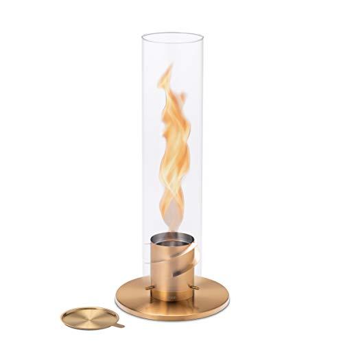höfats - Spin 120 Gold inklusive Edelstahl Nachfülldose - Bioethanolkamin für Indoor und Outdoor - Tischfeuer, Windlicht und Gartenfackel aus Edelstahl