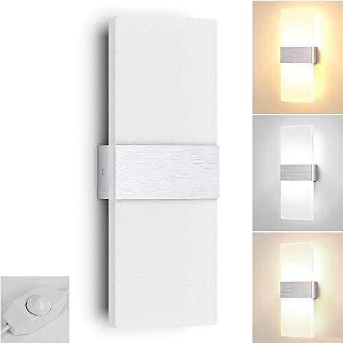 LED Lámpara de Pared con Enchufe e Interruptor Interior Moderna Aplique de Pared Acrílico Cabecera Luz Temperatura de 3 Colores Ajustable 12W para Salon Dormitorio Pasillo Plata Cepillado VOMI