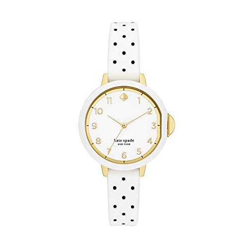 kate spade new york Women's Park Row Quartz Watch with Silicone Strap, White, 12 (Model: KSW1694)