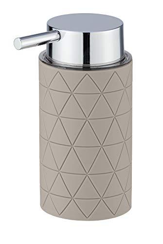 WENKO Seifenspender Casella - Flüssigseifen-Spender, Spülmittel-Spender Fassungsvermögen: 0.25 l, Kunststoff (ABS), 7 x 14.5 x 10 cm, Taupe