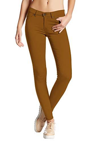 Hybrid & Company Womens Super Stretch Comfy Skinny Pants P44876SK Tobacco M