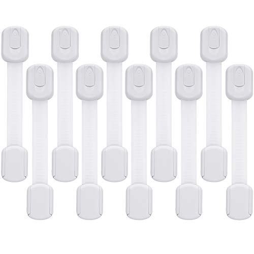 Child Safety Cabinet Locks - Baby Proofing Latches to Drawer Door Fridge Oven Toilet Seat Kitchen Cupboard Appliance Trash Can with 3M Adhesive - Adjustable Strap No Drill No Tool 10 Pack