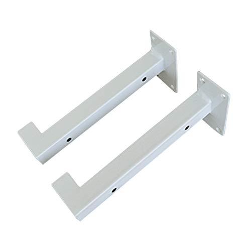JOUS Escuadras estanterias Blanco x2, Soportes de Estantes en Forma de T, Tubo Cuadrado 2x2cm, Base de Montaje 8x4cm, Soportes de Pared para Estanterias flotantes, Soportes de repisa