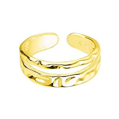 SHENSHI Anillos Mujer,Anillos Ajustables, Doble Capa, Ondulado, Retro, Brillante, Plata De Ley 925, Anillos Dulces De Moda para Mujer, Oro, Talla Única