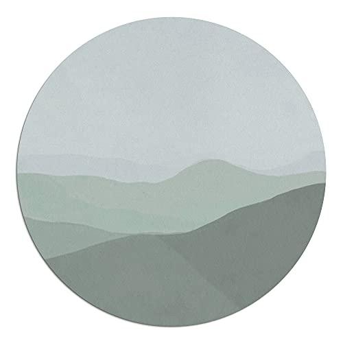 Alfombra Vinílica Redonda, 100 x 100 x 0.22 cm, Color Verde y Turquesa, ALV-128