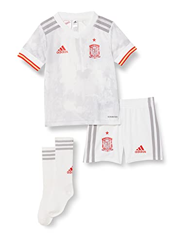 adidas Selección Española Temporada 2020/21 Miniconjunto Segunda equipación, Unisex, Top:White/Light Onix Bottom:White, 116