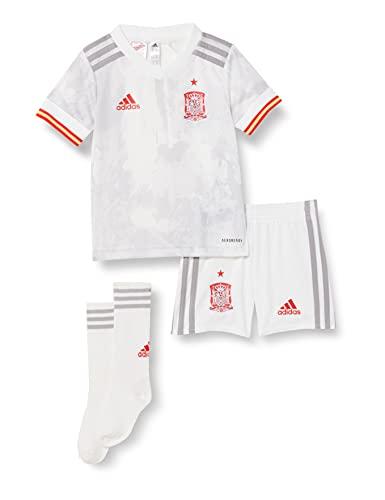 adidas Selección Española Temporada 2020/21 Miniconjunto Segunda equipación, Unisex, Top:White/Light Onix Bottom:White, 92