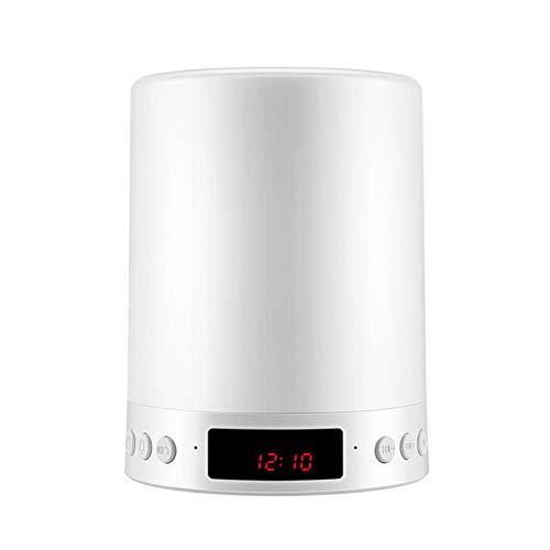 NAttnJf Wireless Touch Control Luz LED Regulable Altavoz Bluetooth Inalámbrico con luz LED Radio FM Reloj con micrófono Reproductor Musical Estéreo