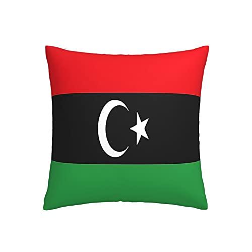 Kissenbezug mit Libyen-Flagge, quadratisch, dekorativer Kissenbezug für Sofa, Couch, Zuhause, Schlafzimmer, drinnen & draußen, niedlicher Kissenbezug 45,7 x 45,7 cm