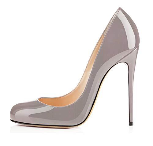 EDEFS Damen Stiletto Heel Pumps Klassische Lackleder Absatz Schuhe Grau Größe EU42