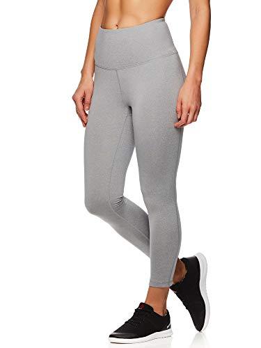 Reebok Womens High Rise Capri Leggings Yoga Pants, Grey, X-Small